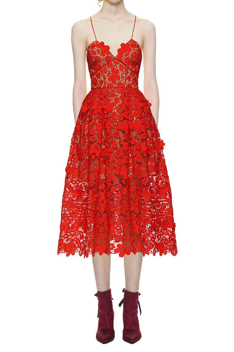 1e9189df5f3f $309.00 Self Portrait 3d Floral Azaelea Lace Dress In Tomato Red ...