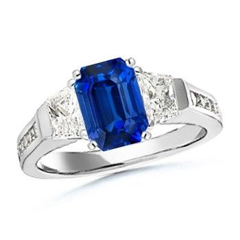 Angara Three Stone Emerald and Sapphire Engagement Ring in White Gold