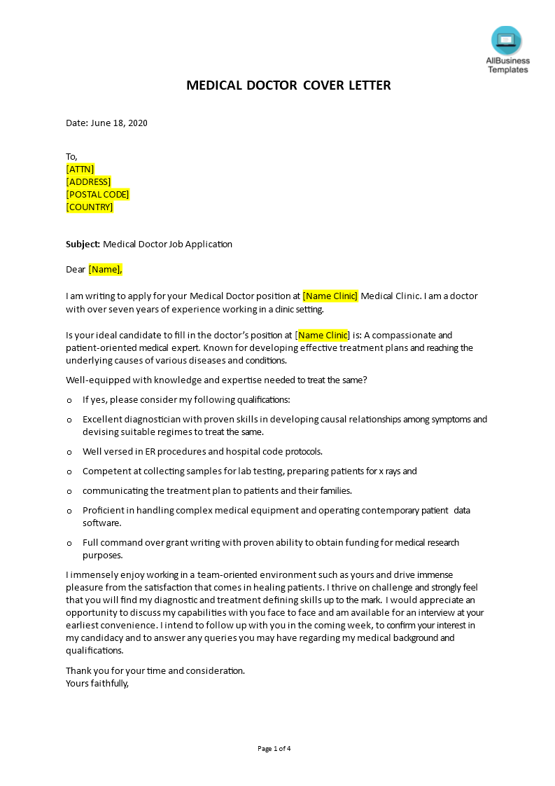 How To Write A Personal Cover Letter That You Can Send To A Medical Doctor Position In A Hospital Download This Job Application Application Letters Lettering