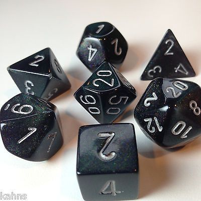 Chessex Cube Set Of 7 Dice Borealis Purple With White Numbering CHX-27407