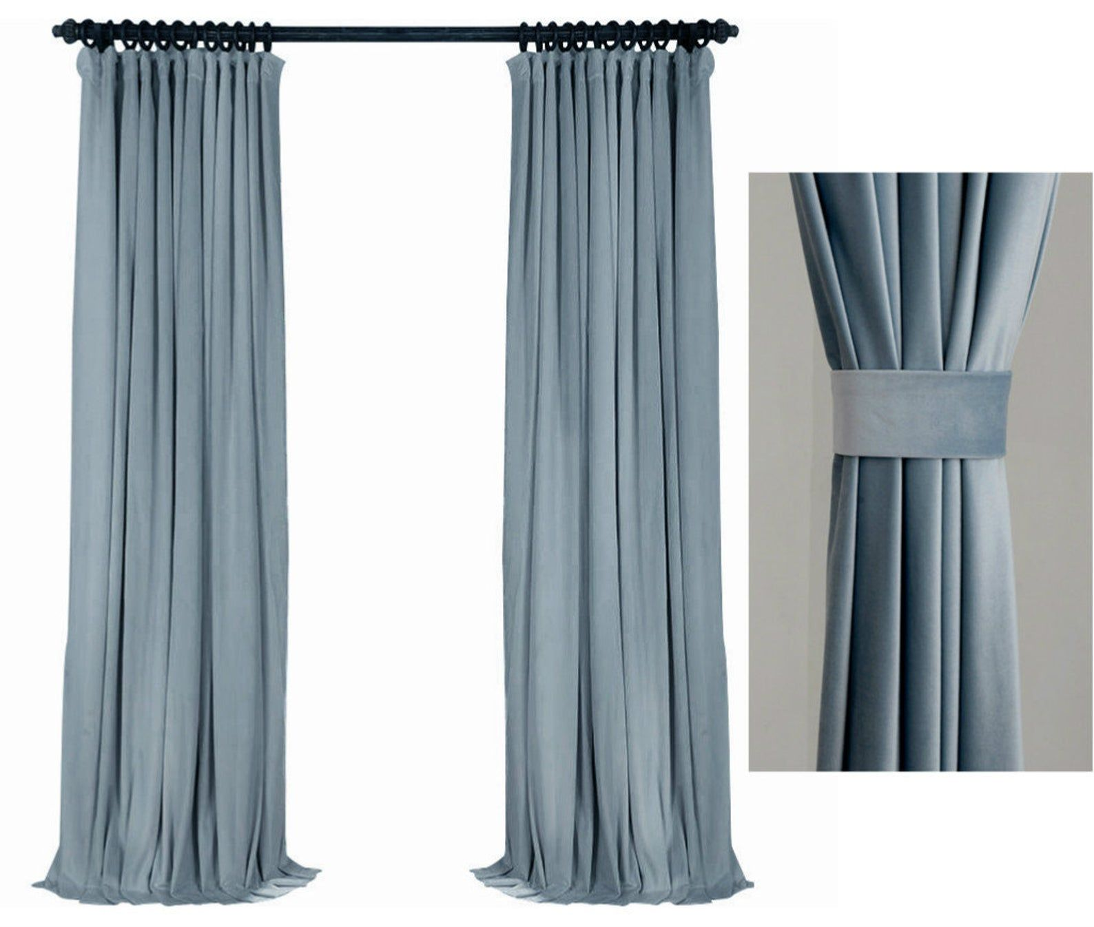 Pair Of Baby Blue Velvet Curtains Bedroom Velvet Curtains Living Room Velvet Curtains Custom Curtains Velvet Curtains Blue Velvet Curtains Purple Curtains