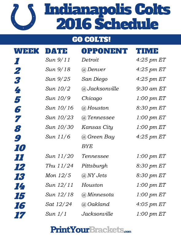 photo regarding Colts Schedule Printable identify Indianapolis Colts Program - 2016 Printable NFL Schedules