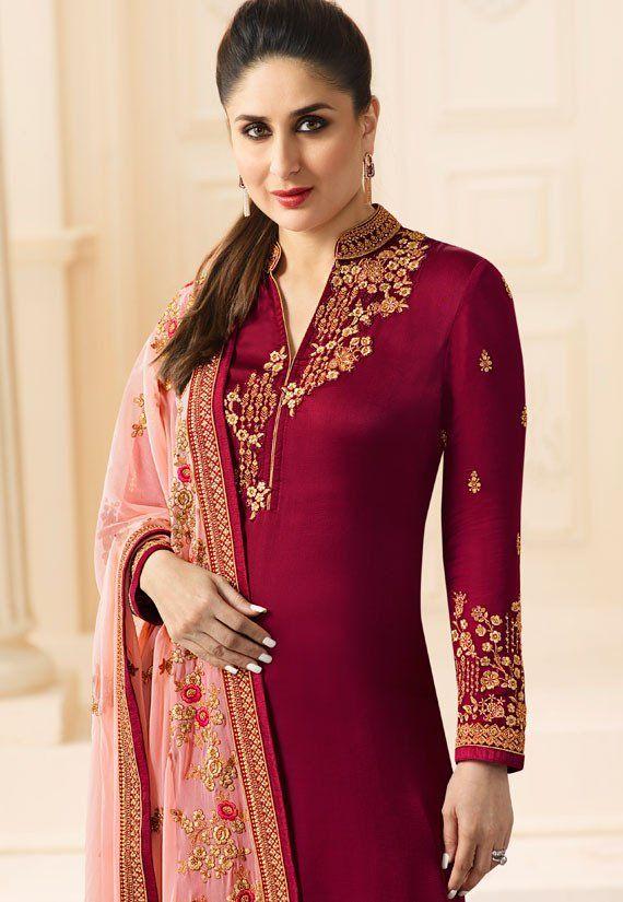 d3bdd3159e Kareena Kapoor Wine Churidar Kameez | Churidar Kameez | Dresses ...