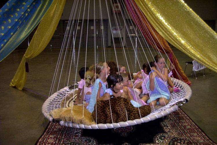 children love rocking in a floating hanging bed shown here with colorful fabric decor indoor hammock bedround