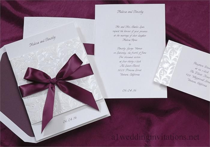Wedding Invitations Feature Trendy Mulberry Satin Ribbon 1231