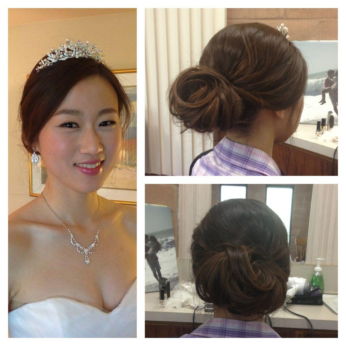 romantic low bun - asian hair - wedding - korean wedding