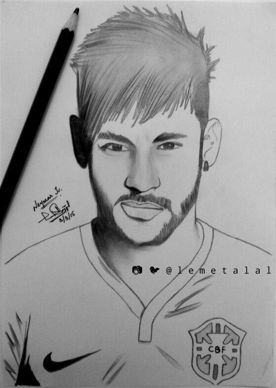 Neymar Jr Sketch | Neymar jr, Football drawing, Face sketch
