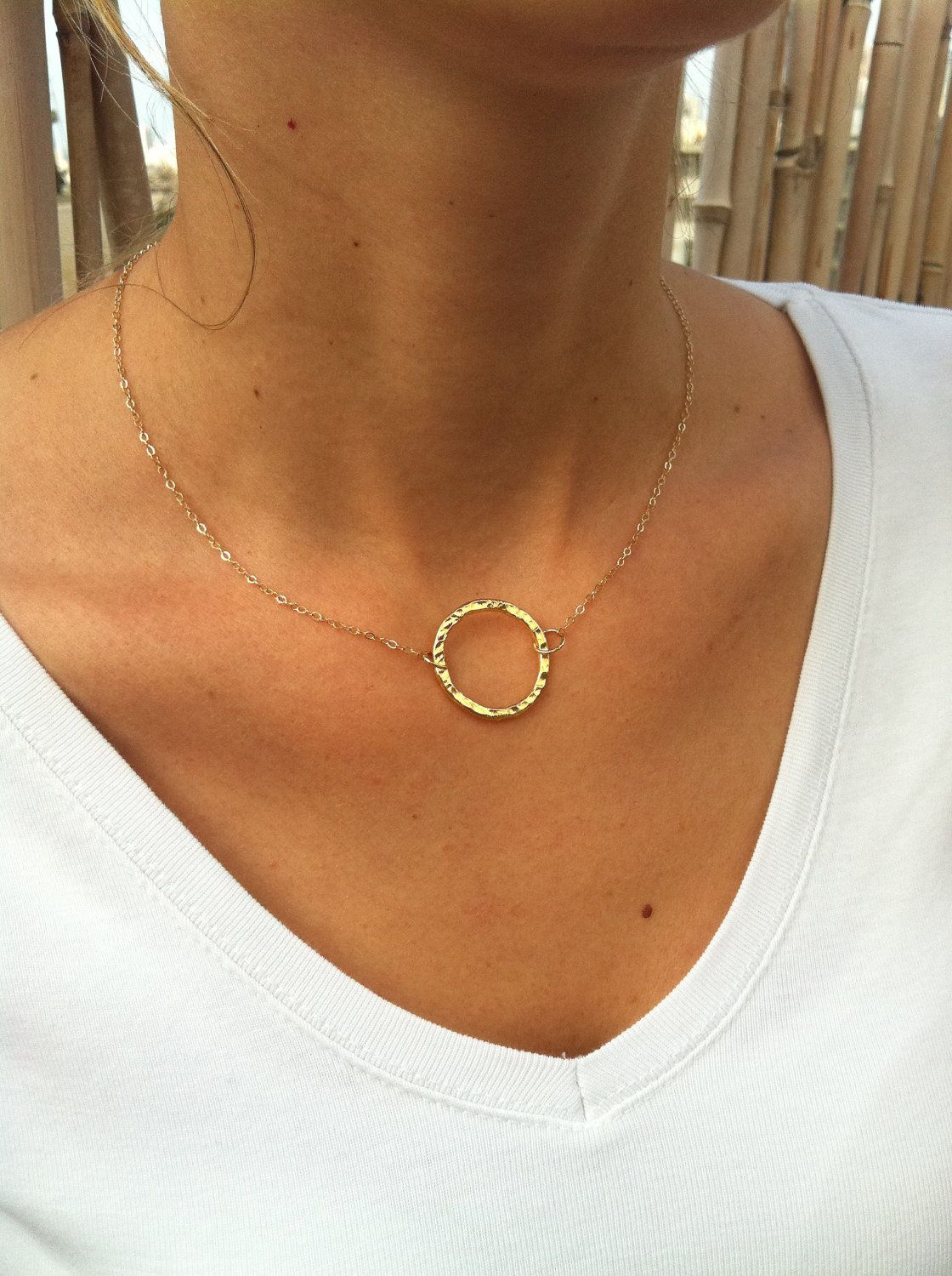 Gold circle necklace - Simple gold necklace, Gold eternity necklace, Ring necklace, Dainty gold necklace, Mothers gift, Delicate necklace