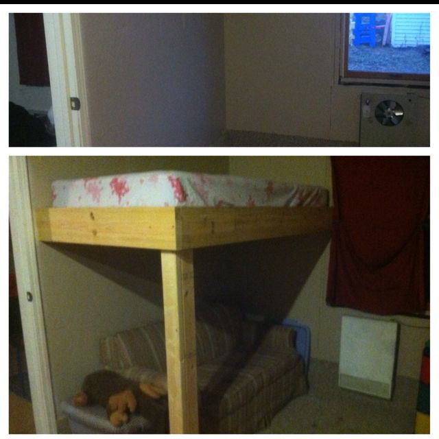 Before and after of our playroom/ guest room. The new loft gained a ton of floor space where a twin bed once was.