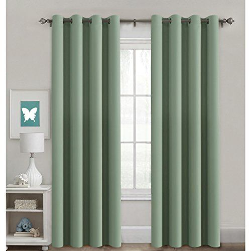 H Versailtex Blackout Room Darkening Curtains Window Panel Drapes Sage Color Insulated Blackout Curtains Thermal Insulated Blackout Curtains Grommet Curtains