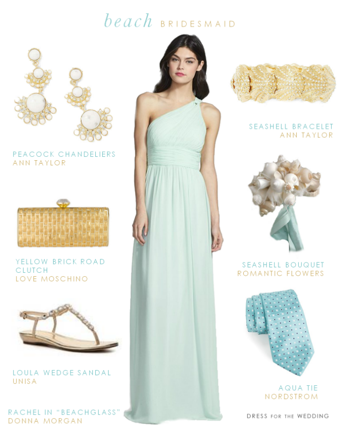 Light Blue Beach Bridesmaid Dress