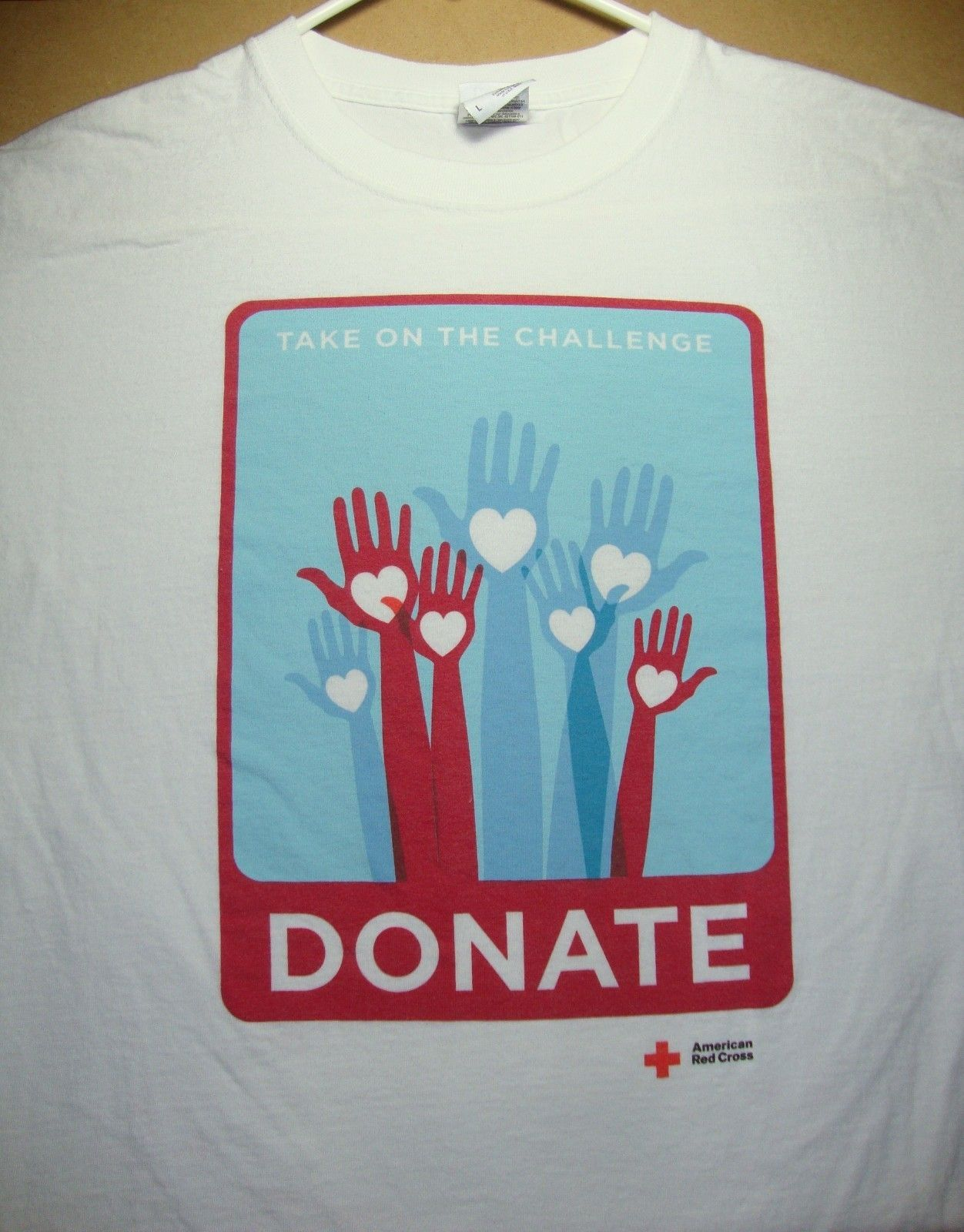 american red cross donate t shirt adult size large blood