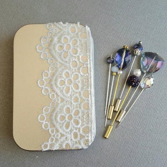 Photo of Purple Hijab Pin Set Tin, Hijab Pin Box, Hijab Accessories, Bridal Muslim Bridesmaid,  Hijab Jewelry