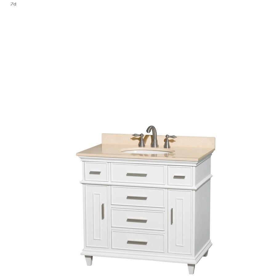Shop Bathroom Vanities With Tops Wyndham Collection Berkeley 36 In White Single Sink Bathroom Vanity With Ivory Natural Marble Top In 2020 Bathroom Vanity Remodel Bathroom Vanity Bathroom Sink Vanity