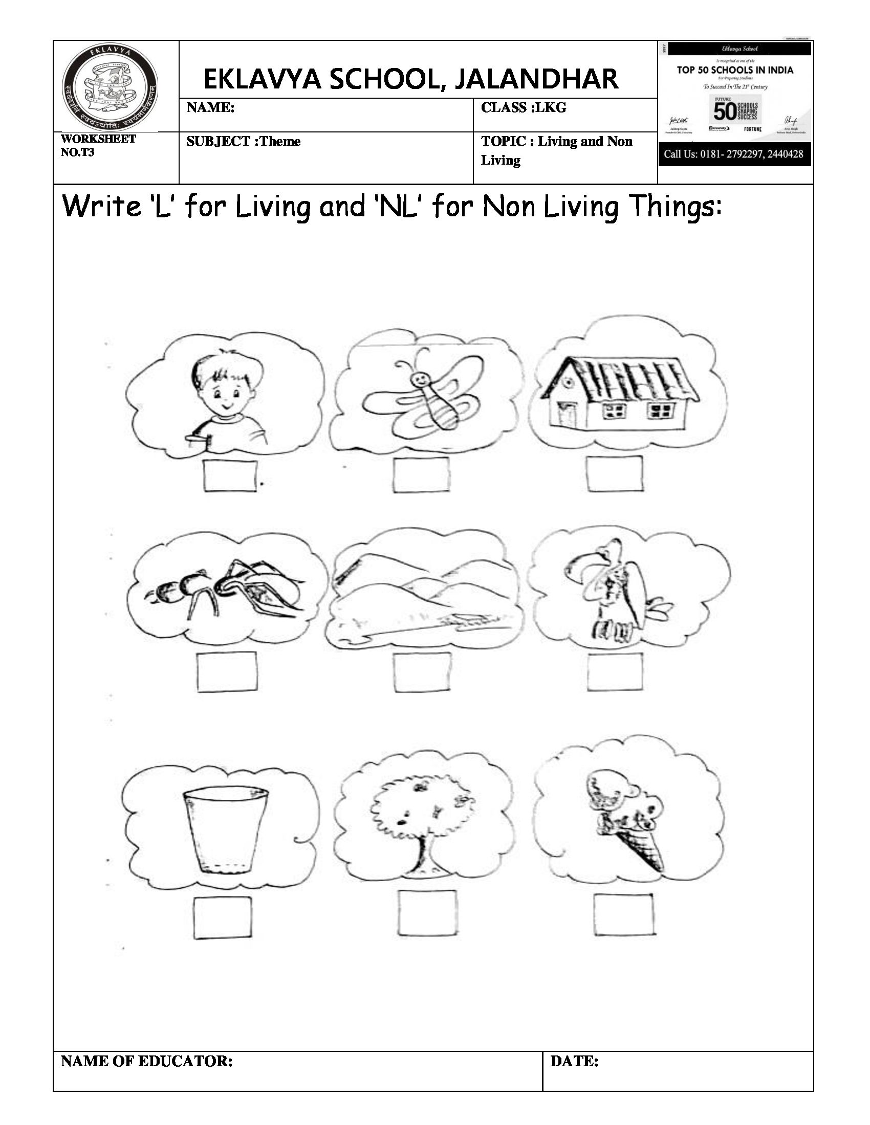 Theme Worksheet On Living And Non Living