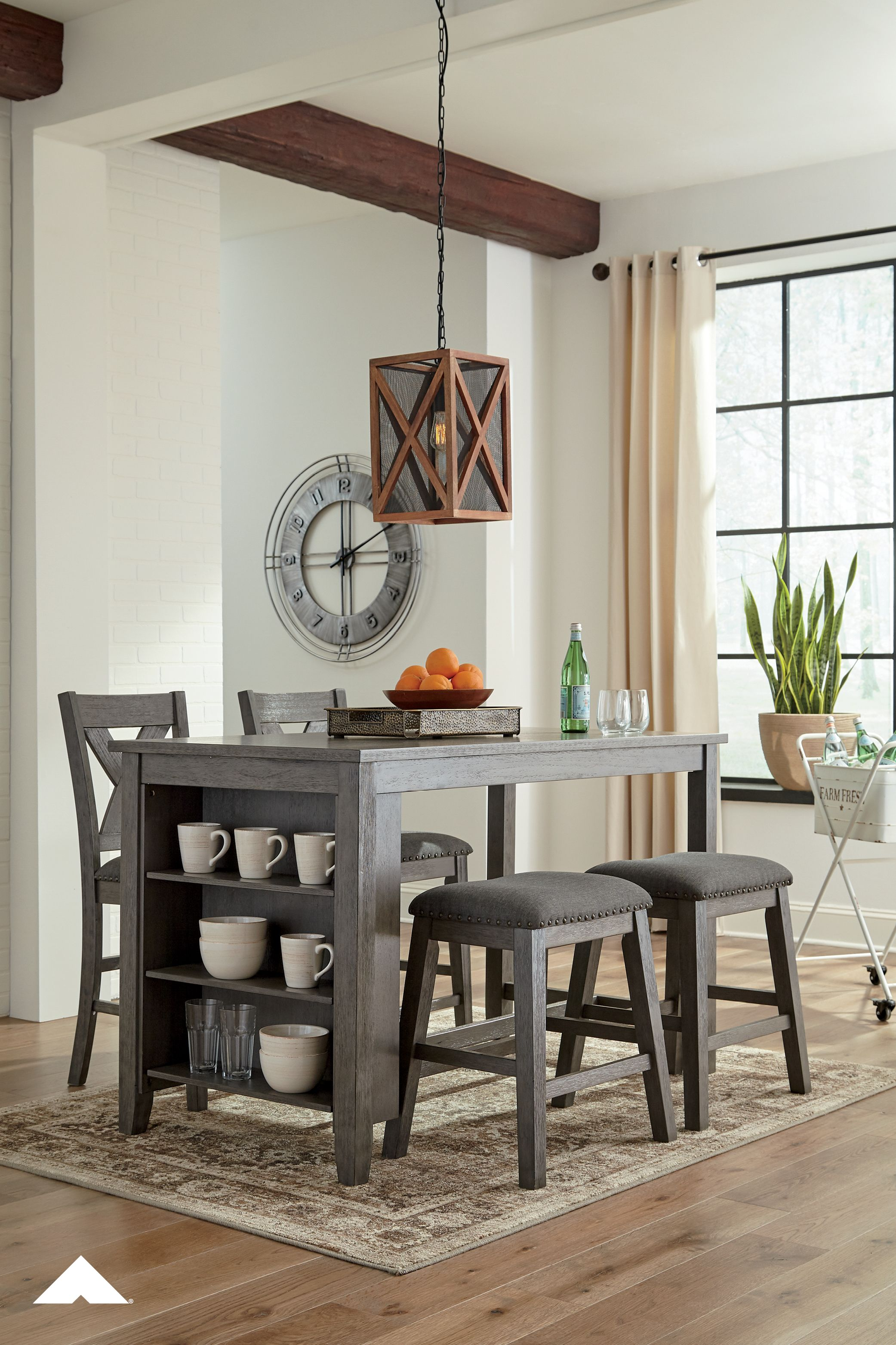 Caitbrook Gray Rectangular Dining Room Counter Table With Bartstools Perfec Dining Room Design Grey Counter Height Dining Room Tables Dining Room Table Decor