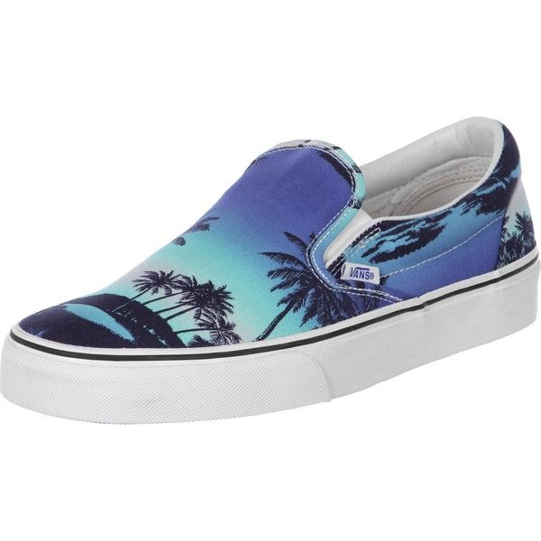 Vans Classic Slip-On Sneaker blau weiß ❤ liked on Polyvore featuring shoes,  sneakers