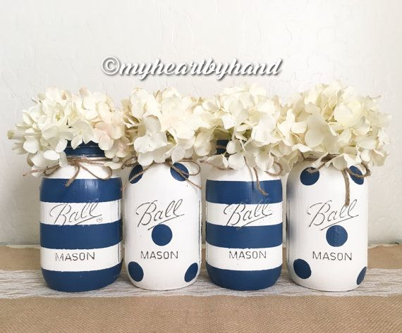 Nautical Mason Jar Centerpieces Rustic Home Decor Baby Diy Baby Shower Decorations Mason Jar Crafts Diy Painted Mason Jars