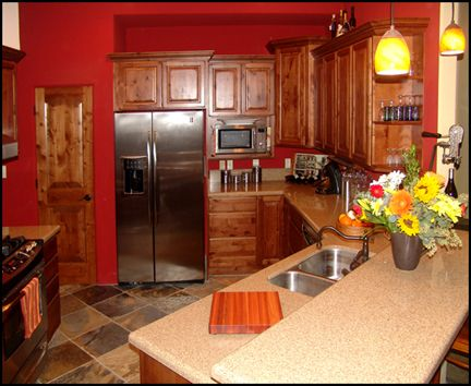 The Oaks Designer Kitchen And Baths Red Kitchen Walls Whimsical Kitchen Black Kitchen Countertops