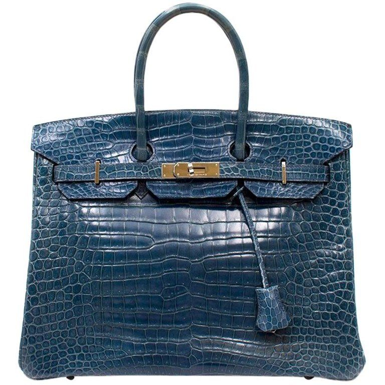 645b15f7922 41k 2005 Hermes Blue Roy Porosus Crocodile 35cm Birkin Bag | From a unique  collection of