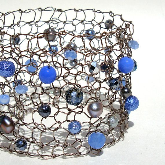 Blue Pearl Bracelet Knit Mesh Cuff Montana Blue & by lapisbeach, $60.00