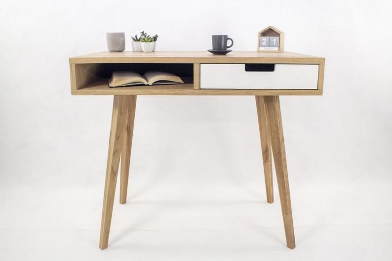 Small Wooden Desk Desk With Shelf Desk With Drawer Oak Desk Office Desk Executive Modern Real Wood Hardwood Natural Wood White In 2020 Small Wooden Desk Rustic Wooden Desk Small Oak
