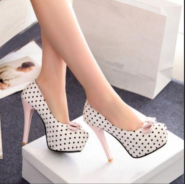 Para Mujer a Lunares Con Lazo Bombas de la plataforma oculta Slim Zapato  Taco Alto Zapatos  6d8e228865be