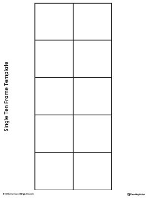 Free Single Ten Frame Template Worksheet Practice Counting By Placing Fun Small Objects Into This