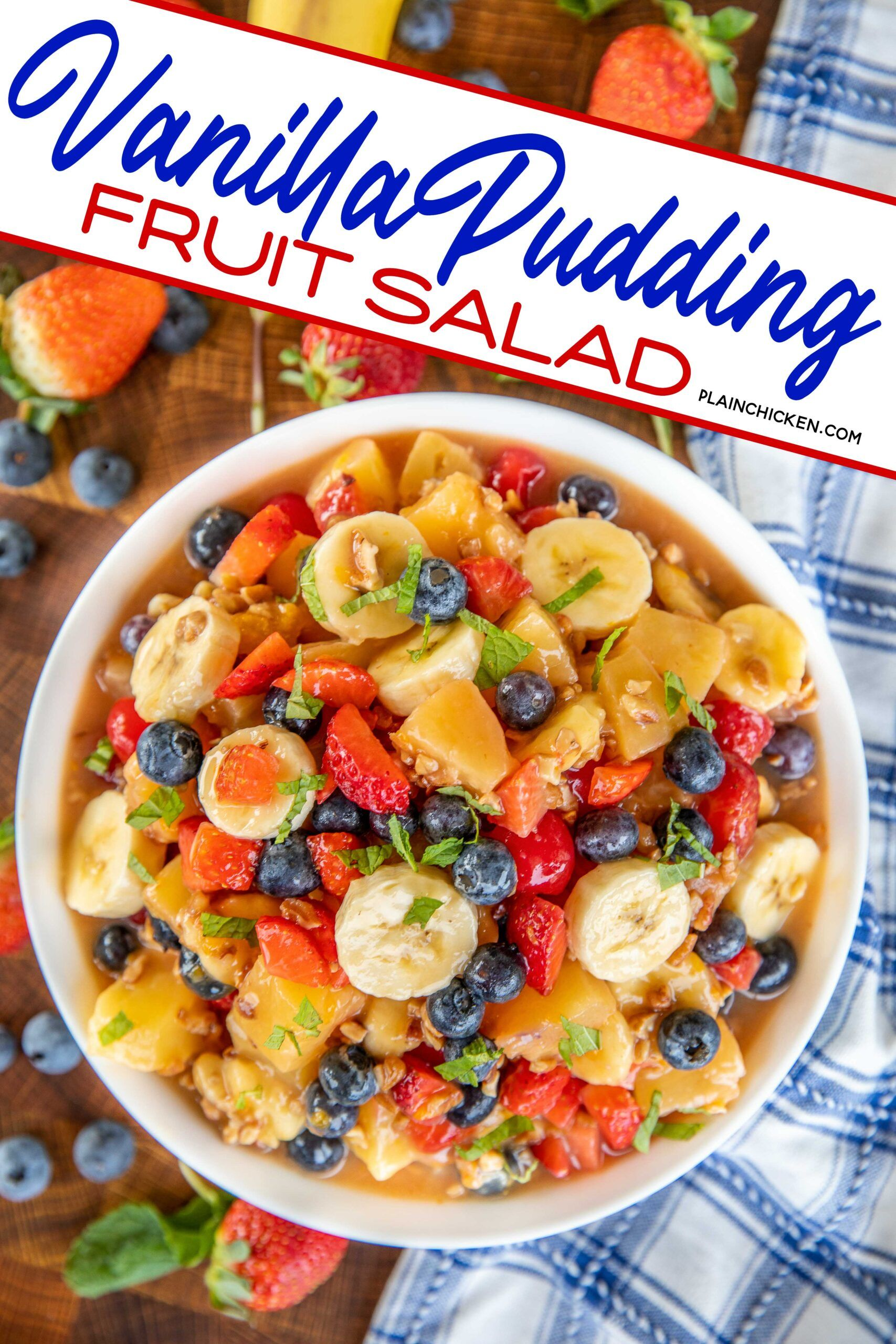 Vanilla Pudding Fruit Salad - so simple and so delicious. Pineapple, mandarin oranges, cherries, bananas, blueberries, strawberries and pecans tossed in a vanilla pudding glaze. Great for breakfast, brunch, parties, and potlucks. Serve leftovers on top of a slice of cake. #fruit #brunch #pineapple #vanilla