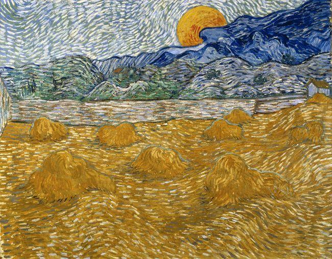 Vincent Van Gogh Paysage Aux Gerbes De Ble Sous La Lune Juillet 1889 Huile Sur Toile 72 X 91 3 Cm Kroller M Art De Van Gogh Peintures De Van Gogh Les Arts