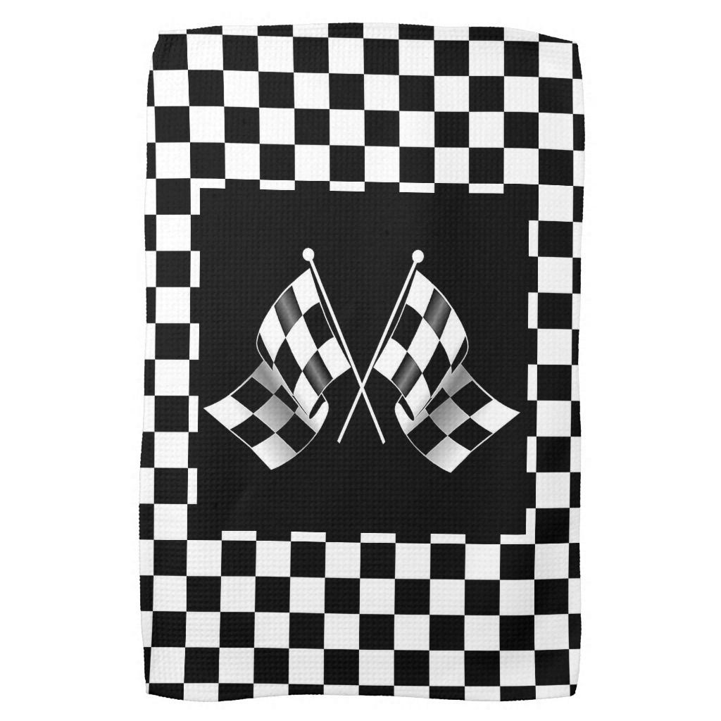Cool Black White Formula 1 Checkered Flags Pattern Kitchen Towel Zazzle Com Hand Towels Flag Design Hipster Design