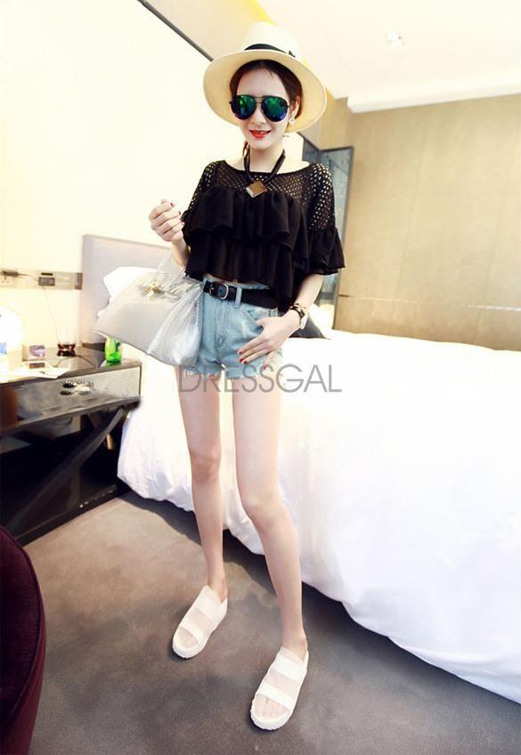 Stylish New Fashion Lady Women Short Sleeve O-neck Chiffon Top Blouse_Vests/Tank Tops_Women_Women's Fashion Zone & Best Price Clothes