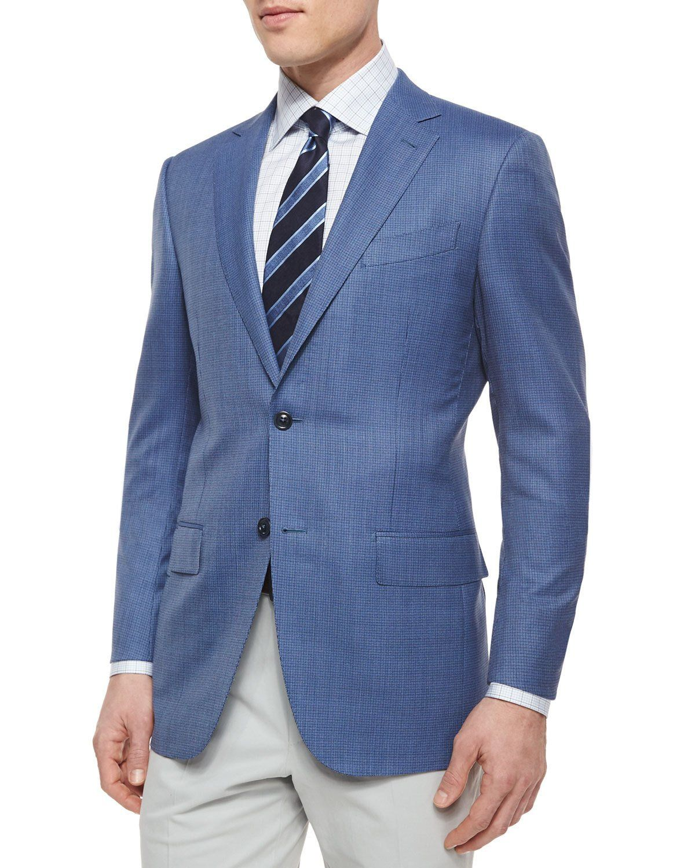 b40b39eec Micro-Check Wool Blazer Blue | Products | Blazer, Mens suits, Sports ...