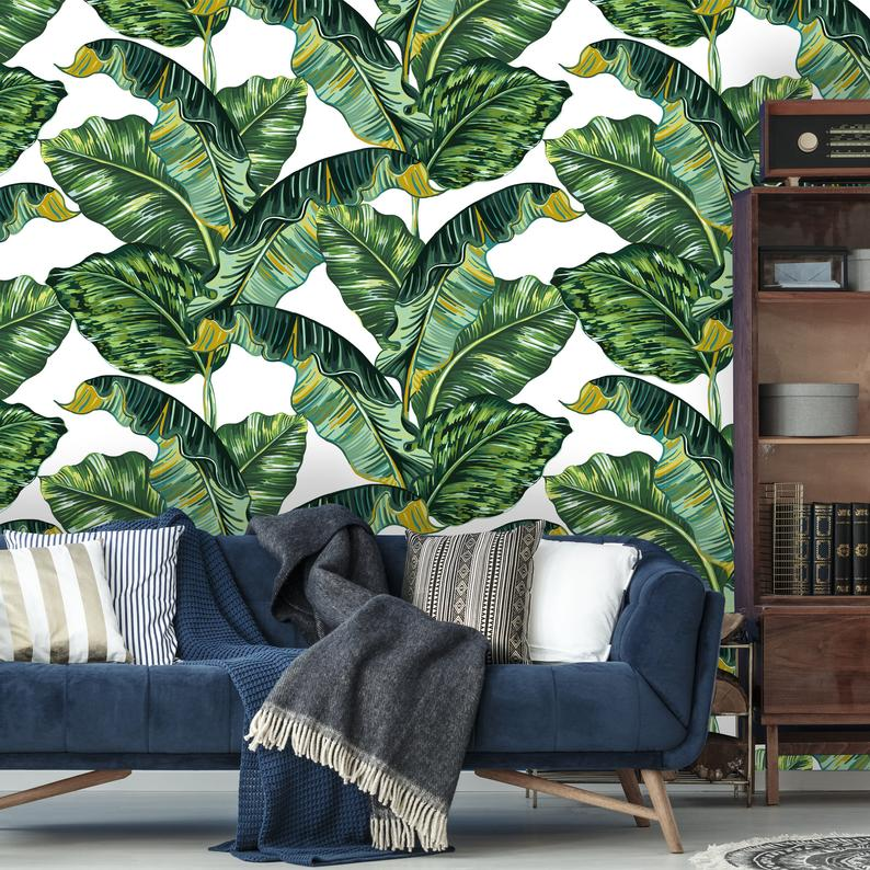 Removable Wallpaper Peel And Stick Tropical Wallpaper Self Etsy Palm Leaf Wallpaper Removable Wallpaper Tropical Wallpaper