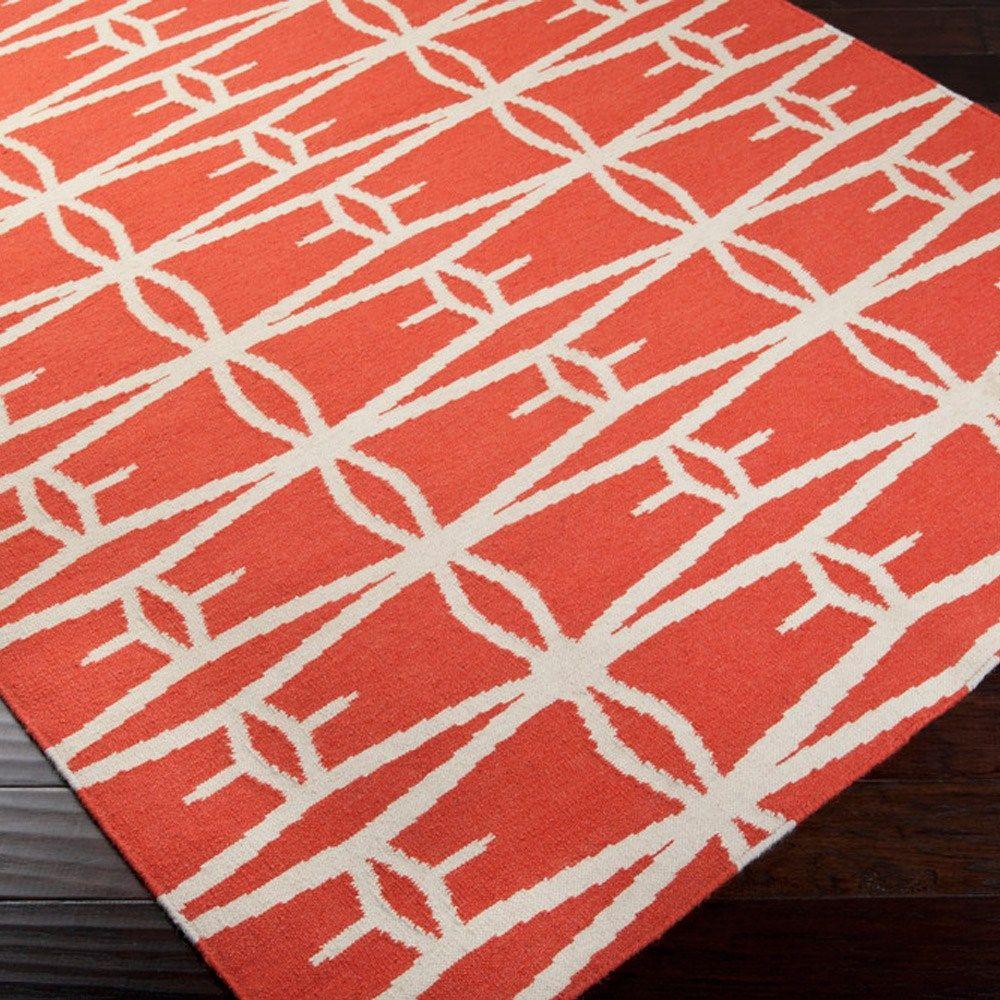 jill rosenwald fallon tubers poppy red hand woven #rug #transitional #design