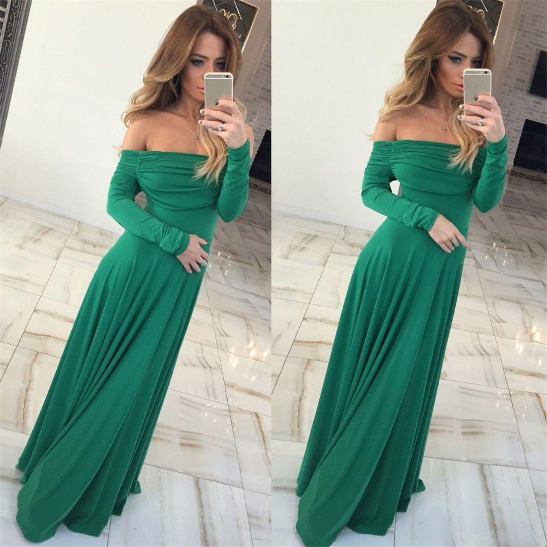 3a0e215d344 Winter Women Elegant Shoulder Off Long Sleeve Long Maxi Green Gray Long Xl  Dress