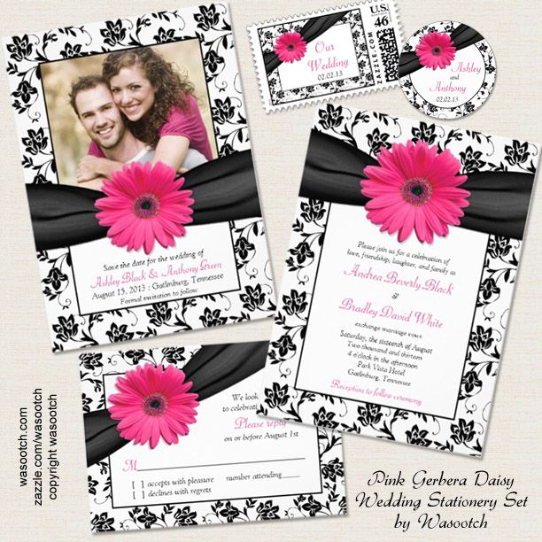 Pink And Black Wedding Ideas: Black White Floral Pink Gerbera Daisy Wedding Invitation