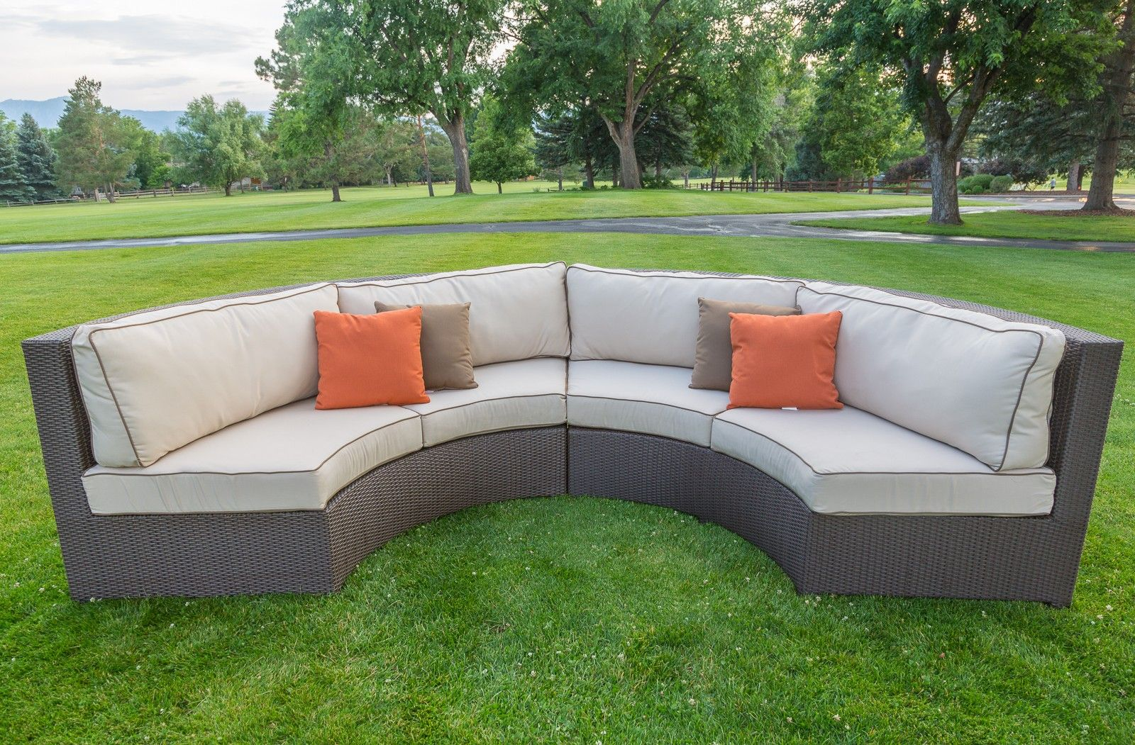 Malibu Collection Curved Wicker Sectional Sofa Set Outdoor Sofas