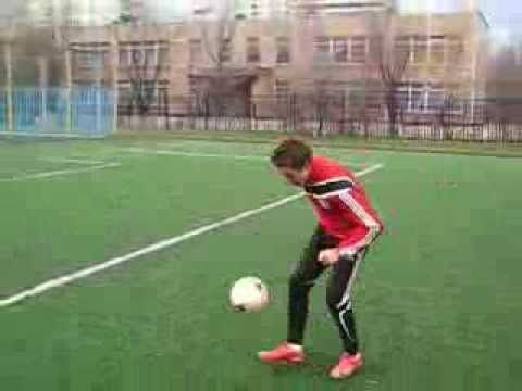 Young man with foot skills