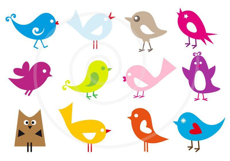 Cute Birds Digital Clip Art Set Owl Clipart Animal Pet Etsy In 2021 Digital Clip Art Set Birds Vector Cute Birds