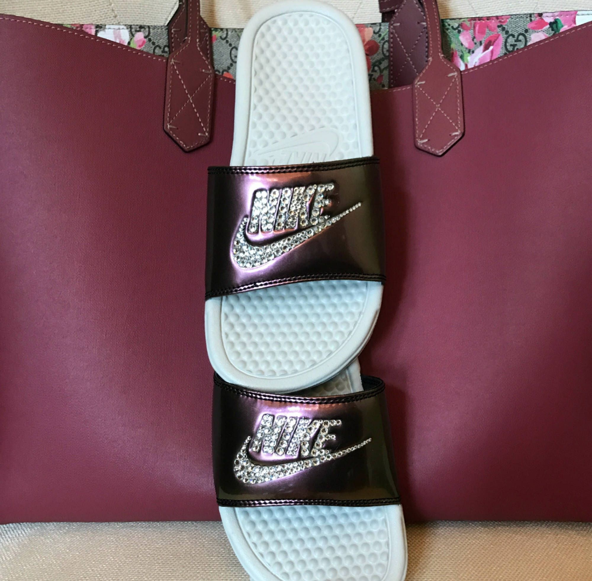 ... online here 12abb c8d80 Nike Benassi Slides with Swarovski crystals.  Gucci tote wouldnt anything either ... a9d98929f8