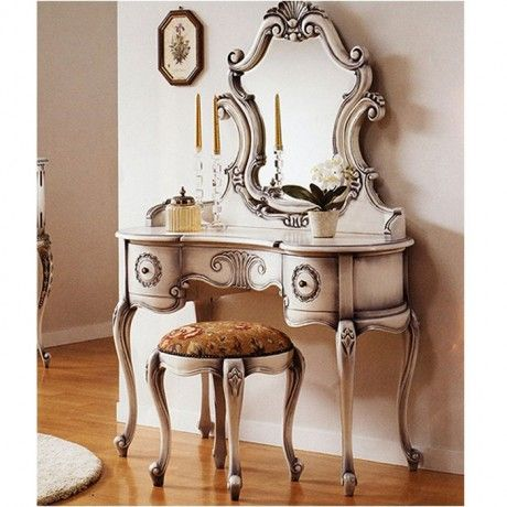 Buy high quality Antique White Vanity Louise Style from mahogany wood and  direct from Indonesian Furniture Manufacturer. Antique Vanities feature  with ... - Louis XV Vanity Set For The Home Pinterest Vanities, Vintage