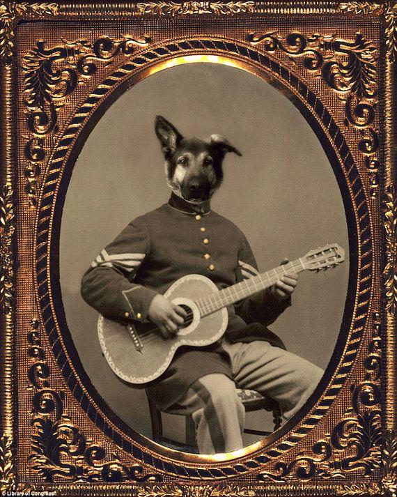 Собака Искусство, немецкая овчарка, Коллаж, антропоморфный ...