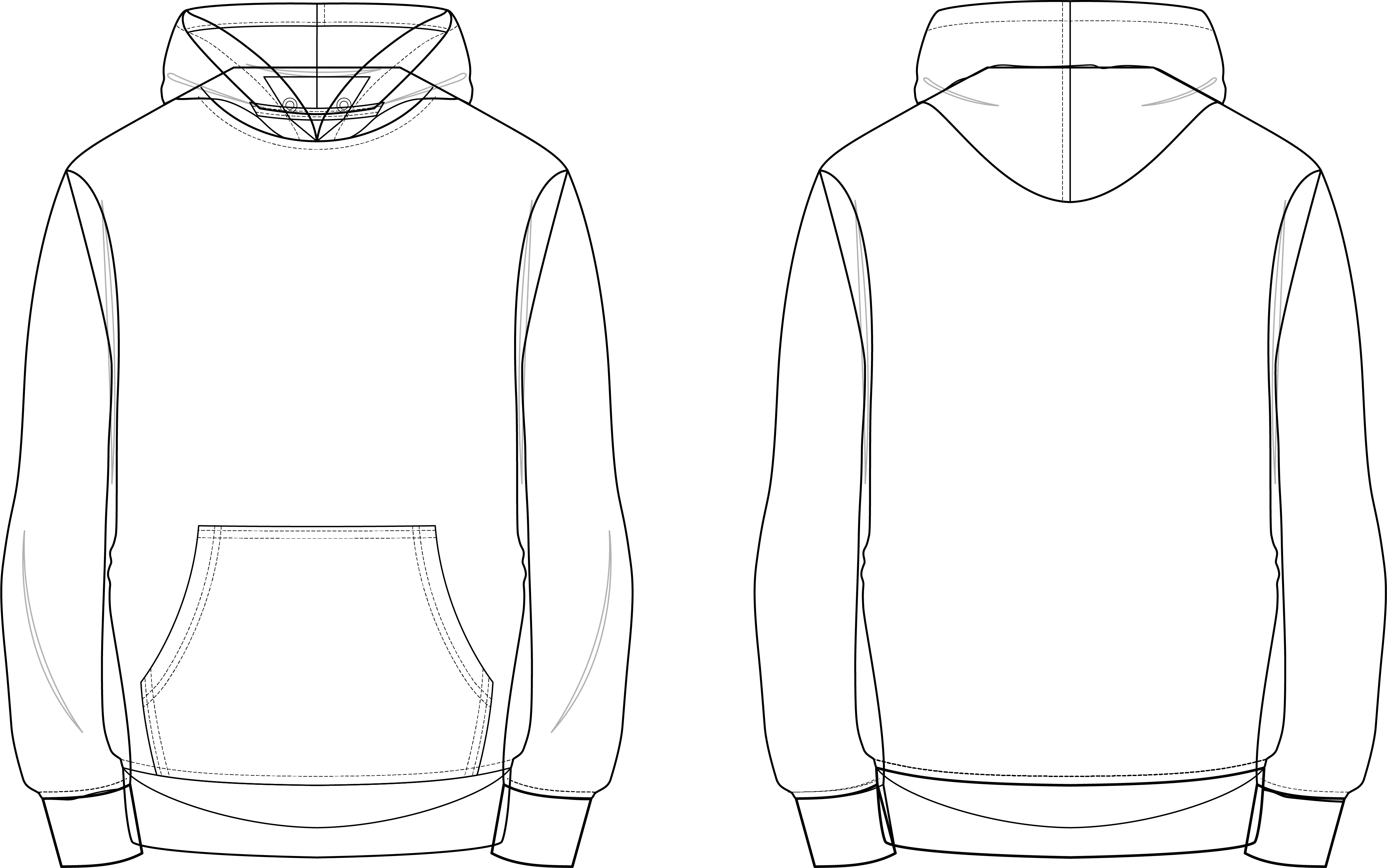 Pullover Hoodie Flat Sketch T Shirt Design Template Hoodie Illustration Flat Sketches