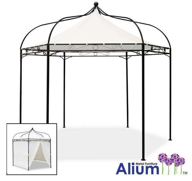 Deluxe Black Metal Steel Frame Gazebo Cream Roof Canopy Garden ...