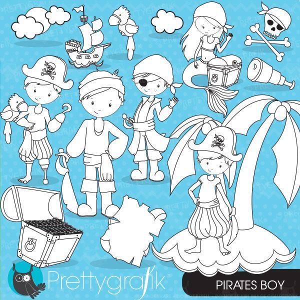 Pirate Digital Stamps