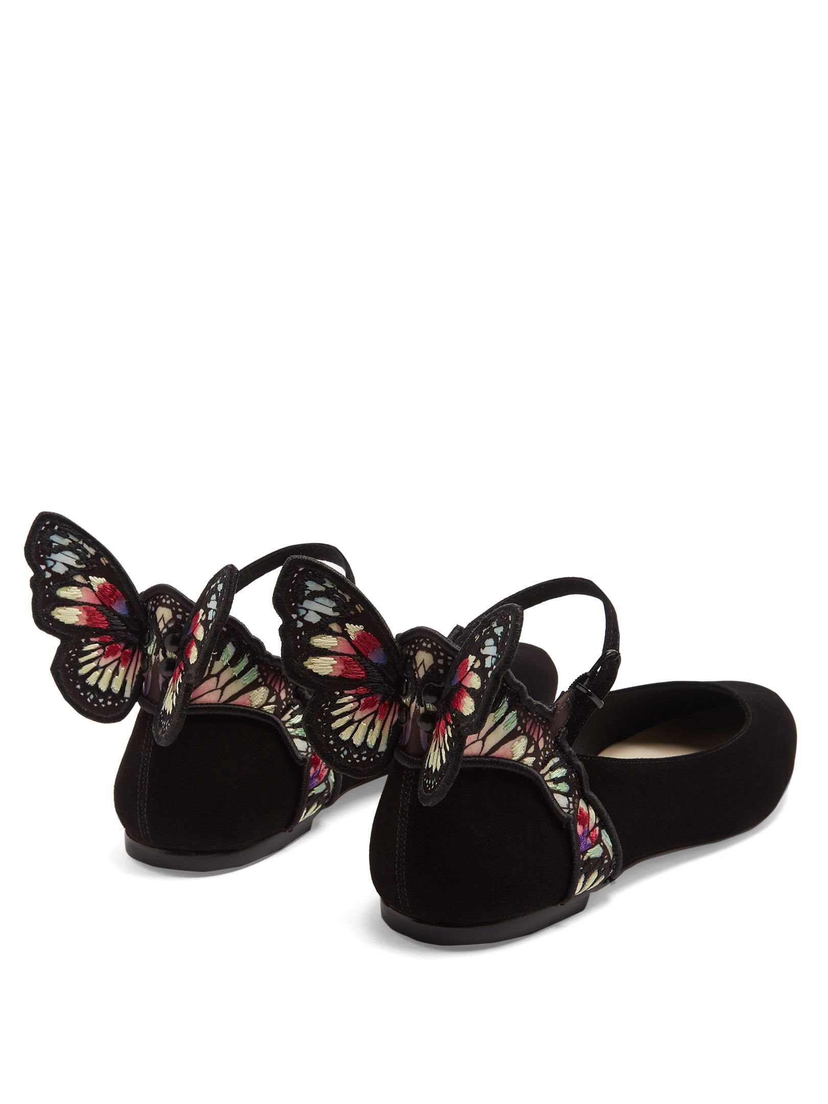 fef499bf7d5 Chiara butterfly-wing suede ballet flats
