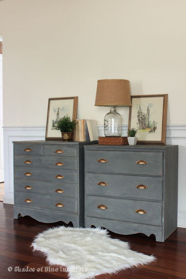 Makeover Monday A Pair Of Gray Nightstands Shades Of Blue Interiors Walnut Bedroom Furniture Furniture Bed Furniture Design