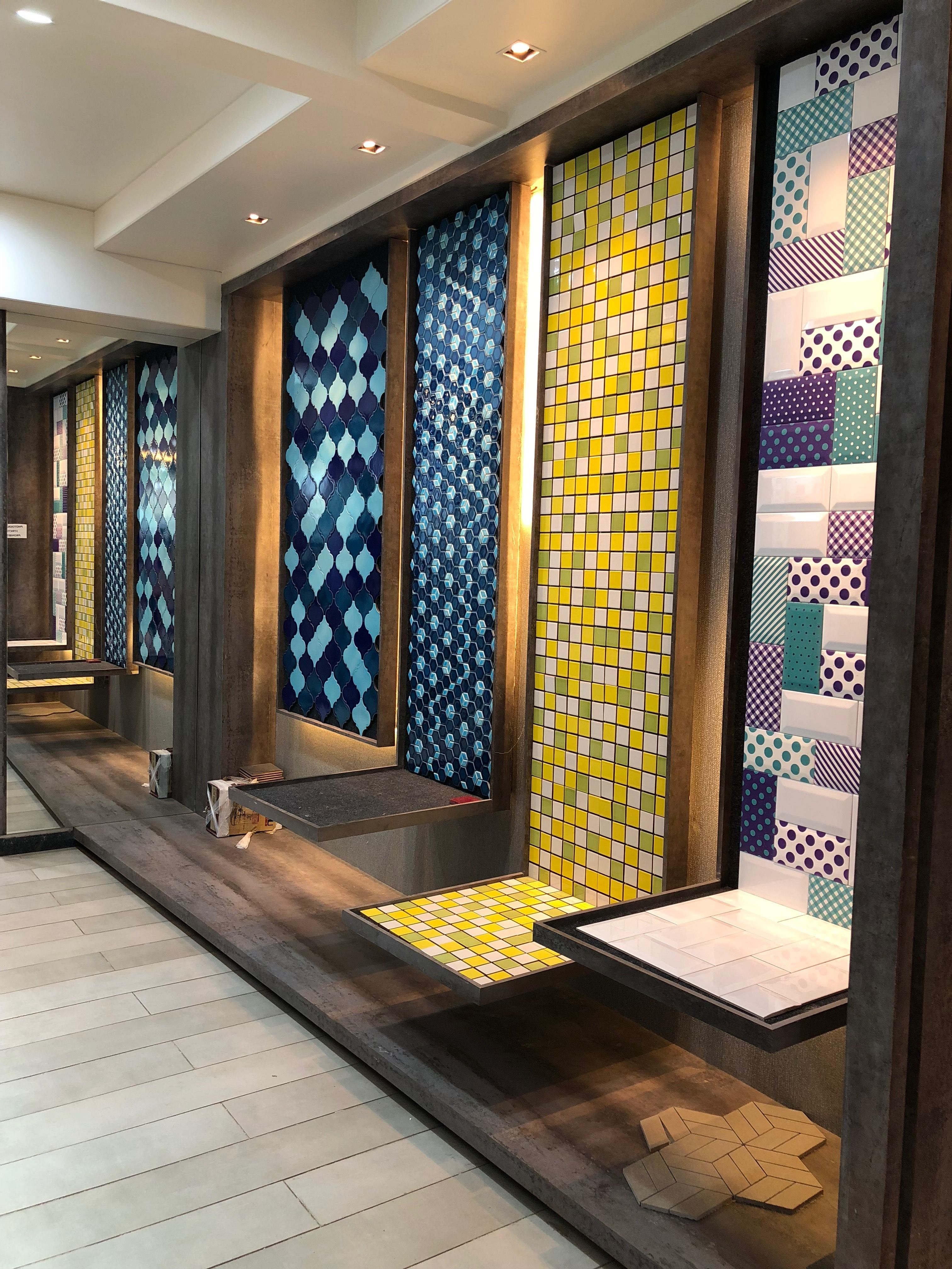 Mosaics Wall Display Panels Showrrom Tilesdisplay Tile Showroom Showroom Decor Design Center Showroom
