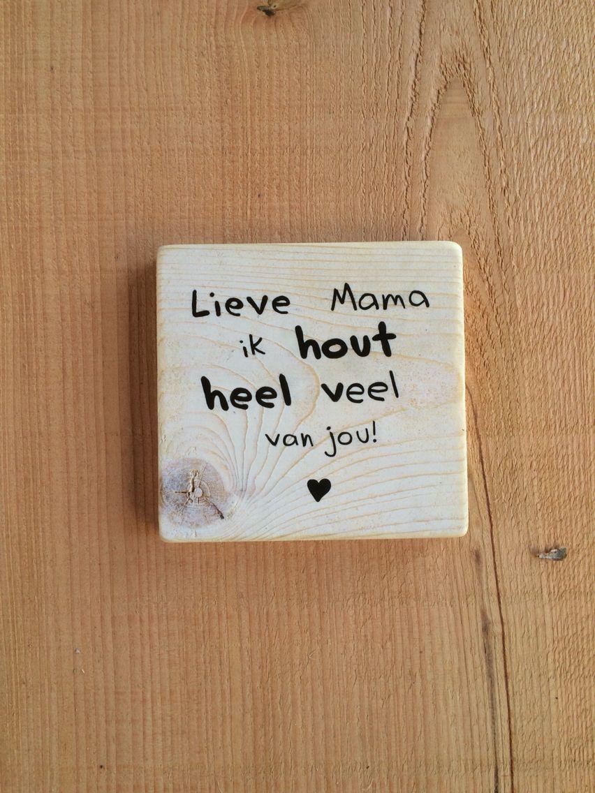 Plankje tekst Moederdag hout